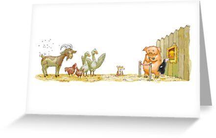 exhibition on the barnyard (watercolor) by Alexander Savchenko