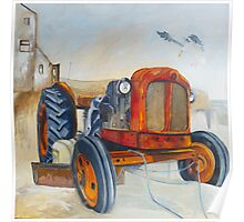 Rusty Tractor at Boulmer, Northumberland Poster