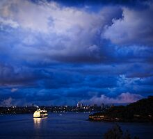 Cruising into Sydney Harbour before dawn by Chris Brunton