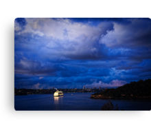 Cruising into Sydney Harbour before dawn Canvas Print