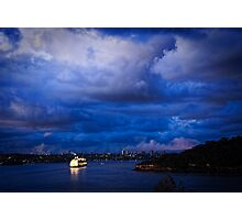Cruising into Sydney Harbour before dawn Photographic Print