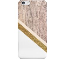 Rustic wood and gold glitter iPhone Case/Skin