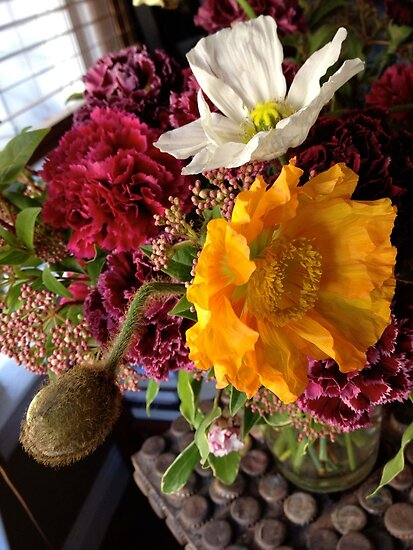 Springtime Viburnum, Carnations, and Poppies by Barbara Wyeth
