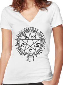 Anime - Hellsing Symbol (Black) Women's Fitted V-Neck T-Shirt