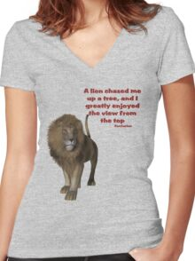 Lion Inspirational Confucius Quote Women's Fitted V-Neck T-Shirt