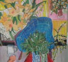 Blue Chair and lily of the Valley by Rosemary  Grant