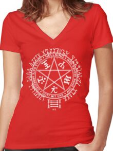 Anime - Hellsing Symbol (White)  Women's Fitted V-Neck T-Shirt