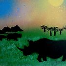 Rhinos in the sunset by George Hunter