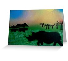 Rhinos in the sunset Greeting Card