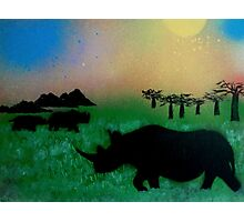 Rhinos in the sunset Photographic Print
