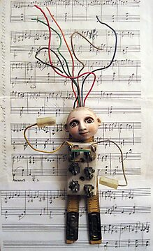 WIRED for SOUND - art assemblage mixed media sculpture by LindaAppleArt