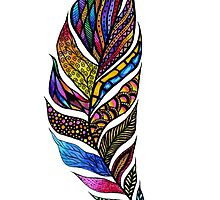 Colorful Watercolor Hand Drawn Tangle Feather by Blkstrawberry