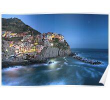 Moon over Manarola - the Cinque Terre Poster