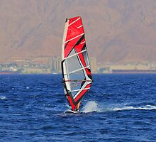 Windsurfing in a red sea by Benjamin Gelman