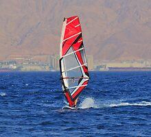 Windsurfing in a red sea by Benjamin Gelman