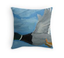 Mallard Drake in Flight Throw Pillow
