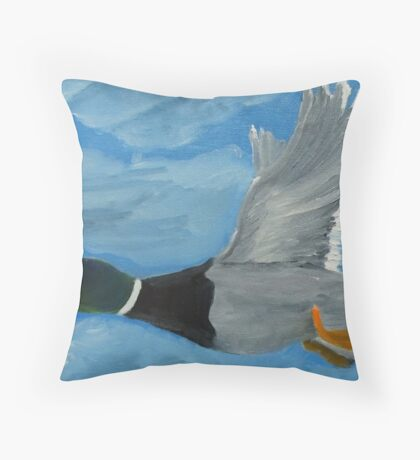 Mallard Drake in Flight Throw Pillow