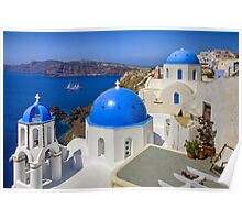 Oia, Santorini, and the Blue Domes Poster