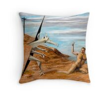Man Attacked by a Cubist Beast Throw Pillow