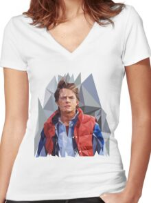 Marty McFly Polygons Women's Fitted V-Neck T-Shirt