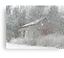 The Leaning Red Barn in the Snow Storm Canvas Print