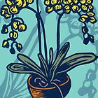 Orchids on Blue by Drawstring