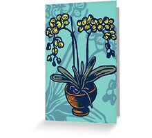 Orchids on Blue Greeting Card