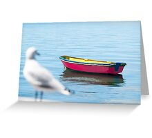 red dinghy and seagull Greeting Card