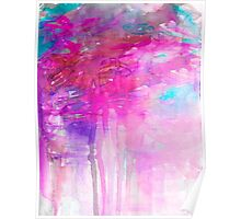 CARNIVAL DREAMS 1 Girly Bubblegum Pink Pastel Sky Whimsical Clouds Abstract Watercolor Painting Poster