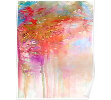 CARNIVAL DREAMS 2 Girly Tangerine Orange Peach Aqua Pastel Sky Whimsical Clouds Abstract Watercolor Painting Poster
