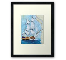HMS Endeavour Tall Sailing Ship Nautical Map Cathy Peek Framed Print
