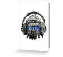 Cool Headphones Hip Hop Groove Buddha Banksy  Greeting Card