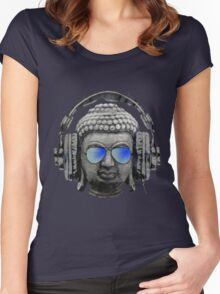 Cool Headphones Hip Hop Groove Buddha Banksy  Women's Fitted Scoop T-Shirt