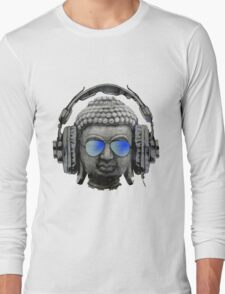 Cool Headphones Hip Hop Groove Buddha Banksy  Long Sleeve T-Shirt
