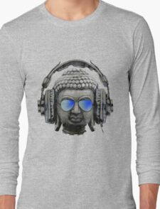 Cool Headphones Hip Hop Groove Buddha Banksy  Long Sleeve T-Shirt