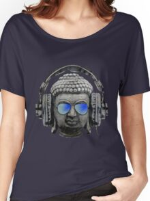 Cool Headphones Hip Hop Groove Buddha Banksy  Women's Relaxed Fit T-Shirt
