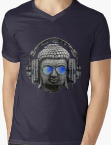 Cool Headphones Hip Hop Groove Buddha Banksy  Mens V-Neck T-Shirt