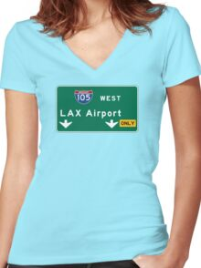 Los Angeles Airport LAX, Road Sign, California Women's Fitted V-Neck T-Shirt