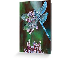 Blue Dragonfly Portrait Greeting Card