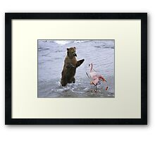 Beaked Grizzly fighting a Shaolin Flamingo Framed Print