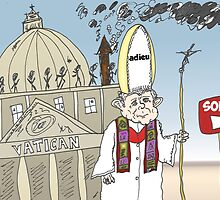 Pape Benoit XVI quitte le Vatican caricature by Binary-Options