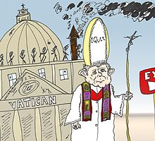 Pope Benedict XVI Quits Vatican cartoon by Binary-Options