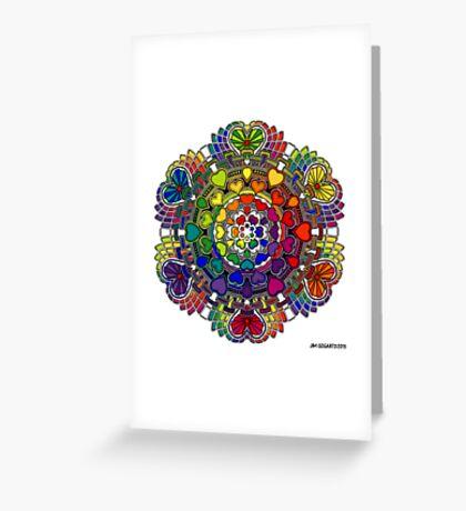 Rainbow Valentine Mandala Greeting Card