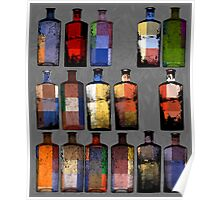 Abstract sixteen coloured bottles Poster