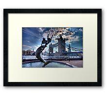 Fountain and Bridge Framed Print