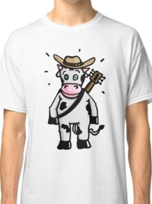 Cowboy Cow with Hat and Guitar Classic T-Shirt