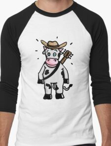 Cowboy Cow with Hat and Guitar Men's Baseball ¾ T-Shirt