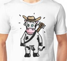 Cowboy Cow with Hat and Guitar Unisex T-Shirt