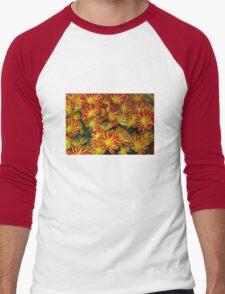 Mums - Red & Yellow Men's Baseball ¾ T-Shirt