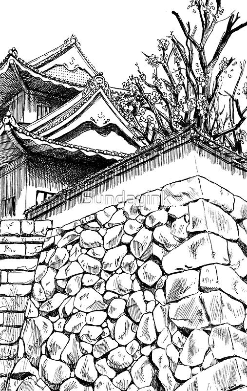 Toyama Castle, Japan by Sundayink